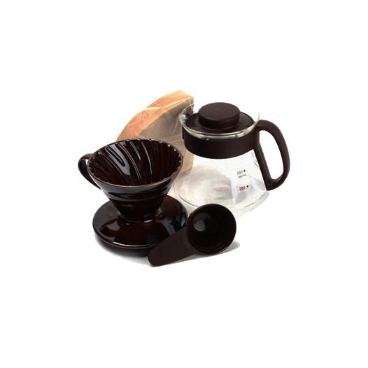 Hario V60 Ceramic Pour Over Kit Brown 01 VDS-3012CBR