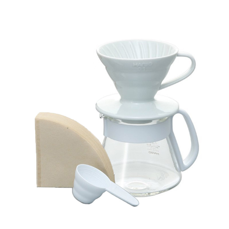 Hario V60 Ceramic Pour Over Kit White 01 VDS-3012W