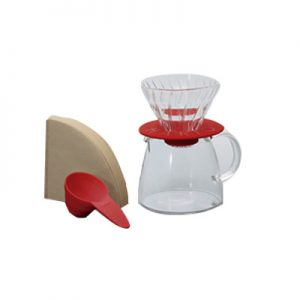 Hario Glass Coffee Dripper & Pot Claire Red VGS-3512CO