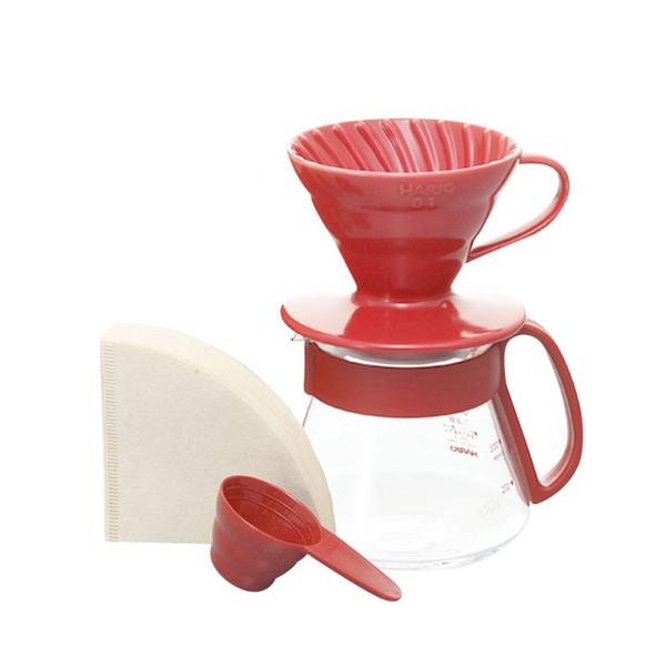Hario V60 Ceramic Pour Over Kit Red 01 VDS-3012R