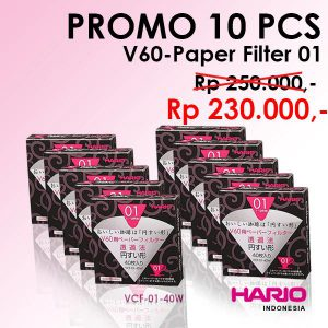 Promo Hario V60 Paper Filter 01 Vcf-01 40 W 10 Pcs