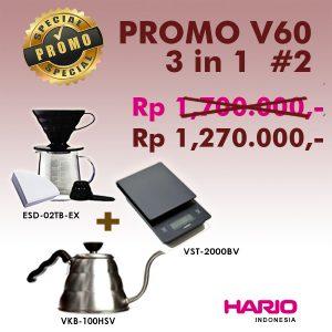 Hario V60 Promo 3 in 1 VST2000B + VKB-100HSV + ESD-02TB EX