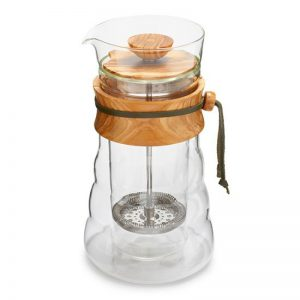 Hario Double Wall Cafe Press Olive Wood 400ml DGC-40-OV