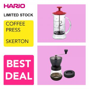 Hario V60 Promo Coffee Press + Grinder Skerton