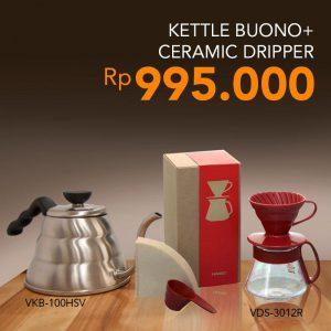 Paket Hario Kettle VKB-100HSV Dan Pour Over VDS-3012R