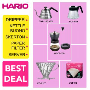 Hario Paket Manual Brewing 1 (VKB-100HSV, VCS-02B, VD-02T, VCF-02-40W, MSCS-2TB)