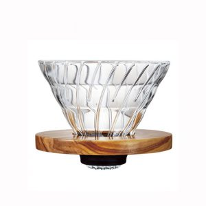 Hario V60 Dripper Glass 02 Olive Wood VDG-02-OV