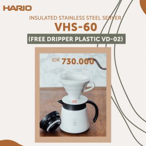 Hario V60 Insulated Stainless Steel Server 600 White VHS-60W Free Dripper 02 Plastic