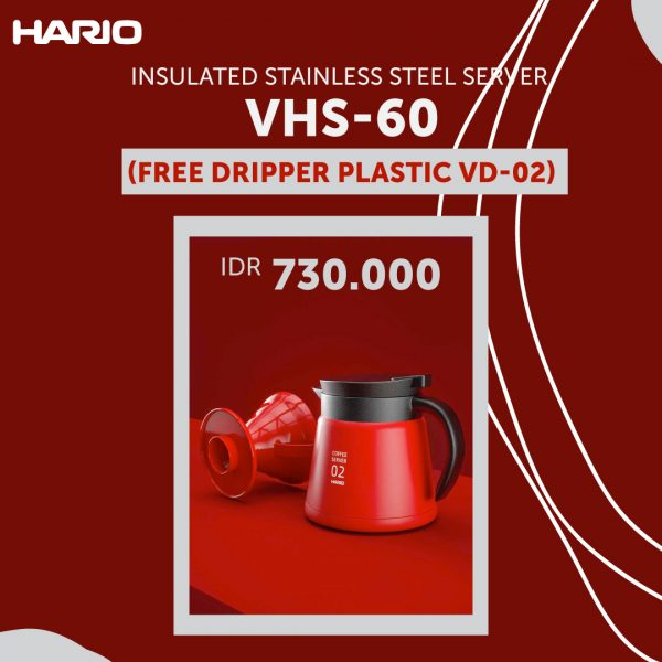 Hario V60 Insulated Stainless Steel Server 600 Red VHS-60R Free Dripper 02 Plastic
