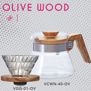 Paket Hario V60 Dan Server Olive Wood 01 (VDG-01-OV, VCWN-40-OV)