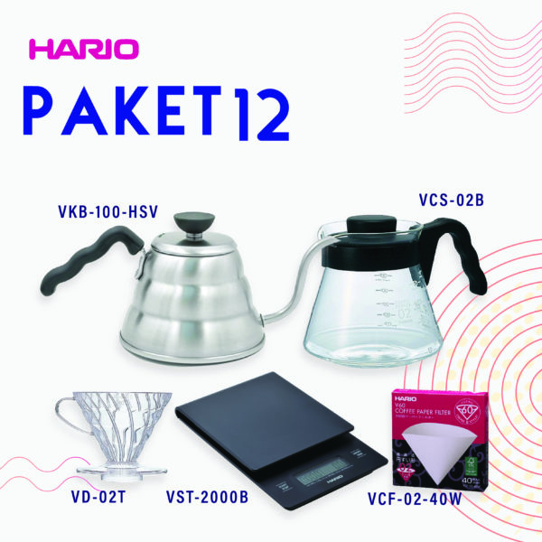 Hario Paket Manual Brewing 3 (VKB-100HSV, VCS-02B, VD-02T, VCF-02-40W, VST-2000B)
