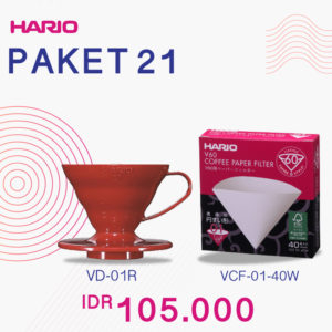 Hario V60 Promo Paper Filter 01 + Plastic Dripper 01 Red