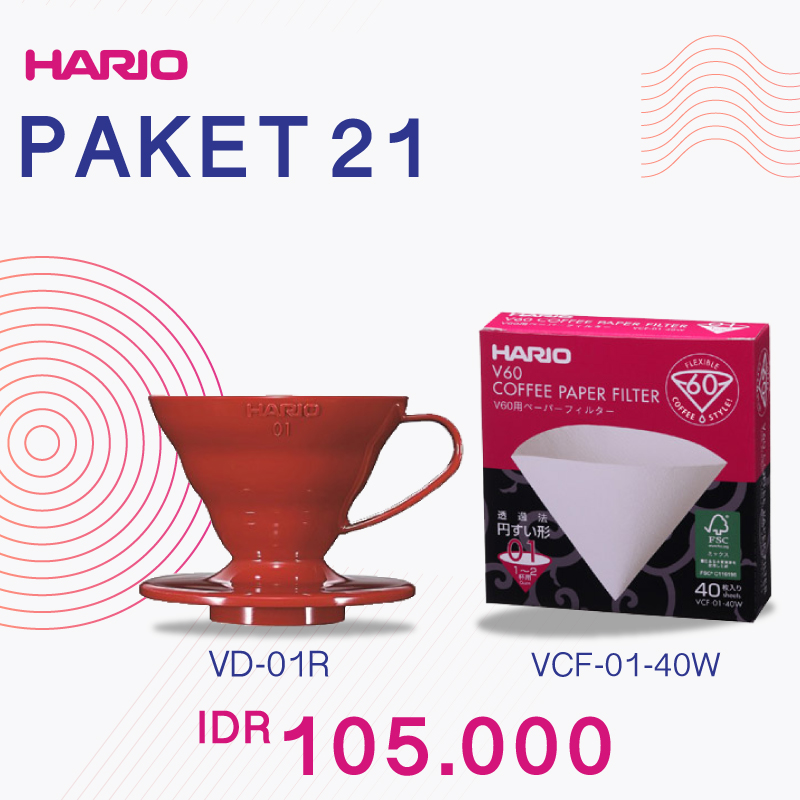 Hario V60 Promo Paper Filter 01 + Plastic Dripper 01 Red