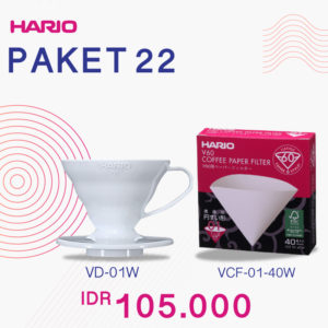 Hario V60 Promo Paper Filter 01 + Plastic Dripper 01 White