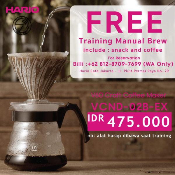 Hario V60 Craft Coffee Maker VCND-02B-EX + Training Manual Brewing