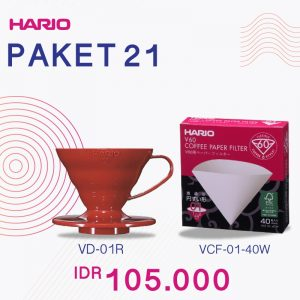 Hario V60 Promo Paper Filter 01 Plastic Dripper 01 Red