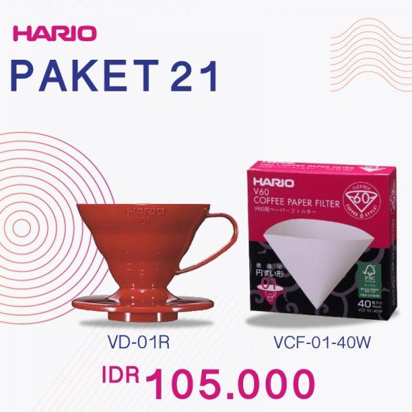 Hario V60 Promo Paper Filter 01 Plastic Dripper 01 Red