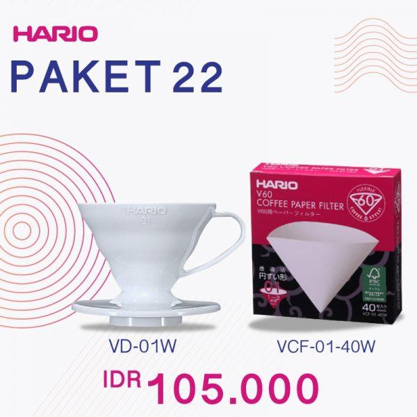 Hario V60 Promo Plastic Dripper 01 White Paper Filter 01