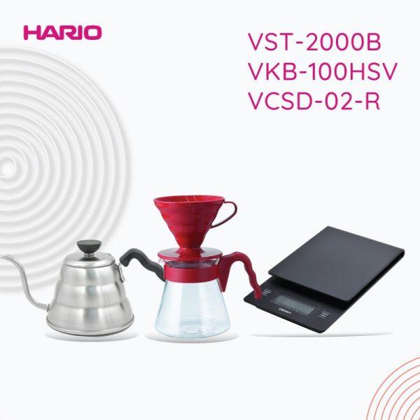 Hario V60 Promo Manual Brew VST2000B + VKB-100HSV+VCSD-02-R