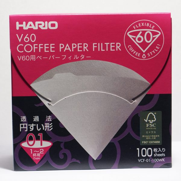 Hario V60 Paper Filter 01 W 100 Sheets VCF-01-100WK