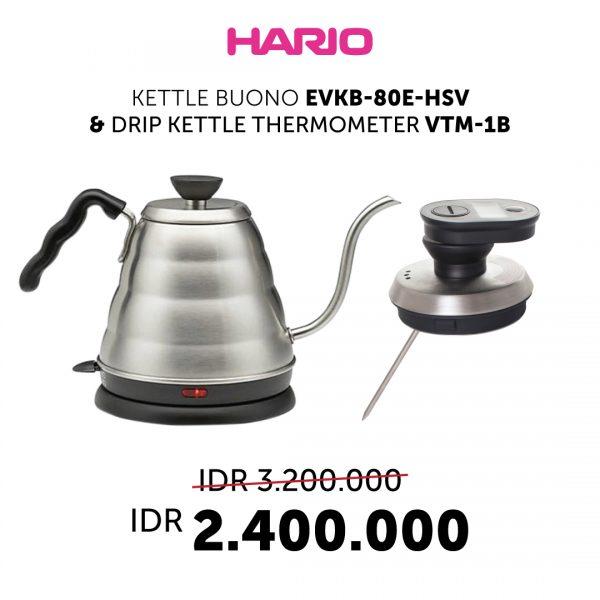 Paket Bundling Hario Electric Ketlle dan Hario thermometer (EVKB-80E-HSV, VTM-1B)