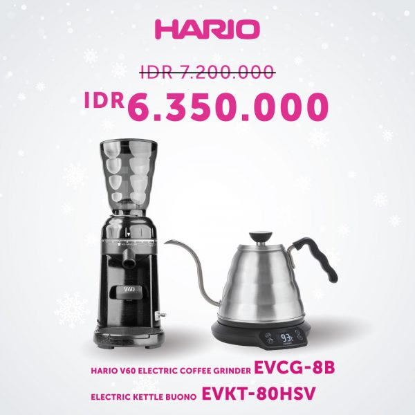 Bundling Hario Electric Kettle dan Hario V60 Grinder Electric (EVKB-80E-HSV, EVCG-8B)