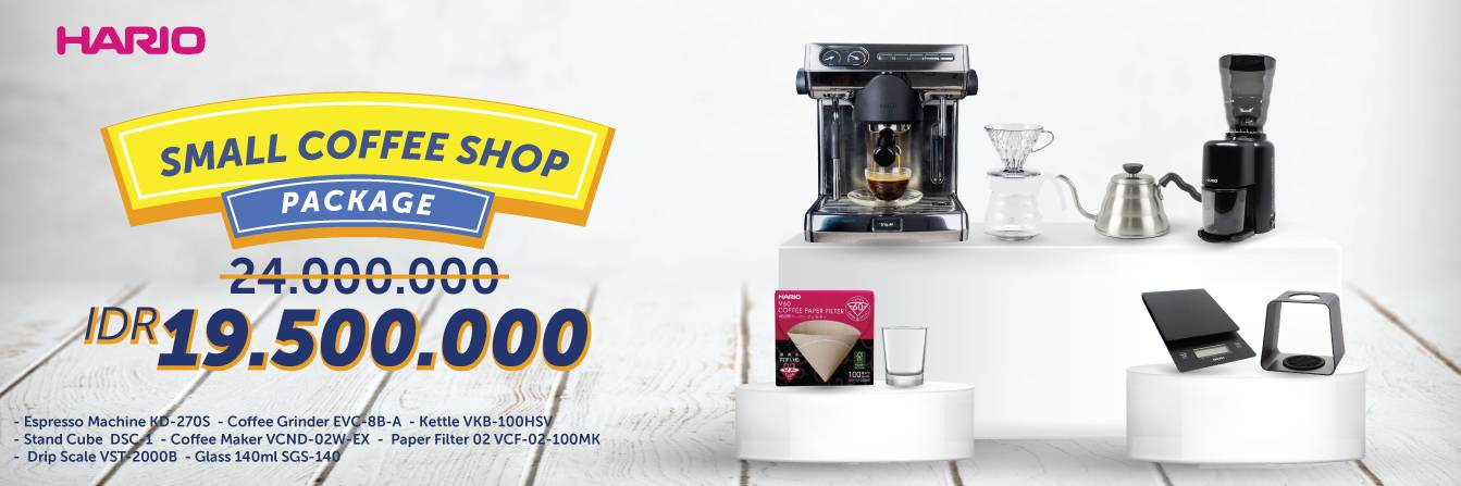 Hario Small Coffee Shop Package (Espresso Machine, VCND-02W-EX, EVC-8B-A, VKB-100HSV, VST-2000B, DSC-1T/TB, VCF-02-100MK, SGS-140)